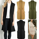 Womens Ladies Long Waistcoat Vest Sleeveless Trench Coat Cardigan Jacket Blazer