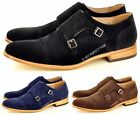Mens Leather Lined Double Monk Strap Suede Loafers Casual Office Shoes Size 7-12