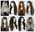 Half Wig 3/4 Wigs Synthetic Hair Chocolate Brown Headband Curly Wigs for women