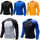 Mens Compression T-shirt Long Sleeve Spandex Skin Base Layers Athletic Gym Tight