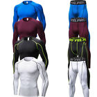 Mens Compression Running Sets Athletic Long Sleeve Tops Fitness Skin Base Layers