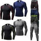 Mens Compression Running Athletic Outfits Workout Gym Tops Quick-dry Base Layers