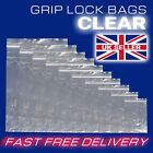 Clear Grip Lock Plastic Resealable Self Seal Polythene Bags - All Sizes