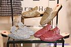 Hot Princetown Horsebit Genuine Leather Sequins Red Heart Loafer Slipper Mule