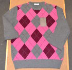 Mens Ballantyne Argyle Check Jumper 100% Lana Wool Italy (G1)