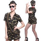 Sexy Womens Army Girl Military Uniform Jumpsuit Hen Night Costume Camouflage