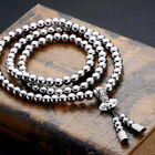 Stainless Steel 108 Buddha Beads Necklace Chain Titanium Steel Metal Whip Self