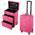 """14x11x23"""" Pink PVC 4-Wheel Rolling Makeup Case Nail Drill Cosmetic Artist"""