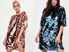 MISSGUIDED SEQUIN T SHIRT DRESS PARTY LADIES (M7/13)