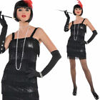 Womens Flashy Flapper Costume Short 20s 1920s Black Red Fancy Dress 8-16 Amscan