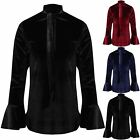 Womens Ladies Front Tie Knot Neck Velvet Frill Long Sleeves Loose T-Shirt Top