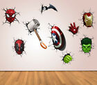 Superhero 3D Crack Kids Bedroom Vinyl Decal Wall Art Sticker Posters Avengers UK