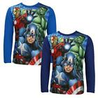Boys Official Marvel Avengers Hulk Captain America Long Sleeve Top 3 to 8 Years