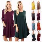 Women's 3/4 Sleeve Trapeze Fit & Flare Round Hem Knit Dress Long Tunic Top S~3XL