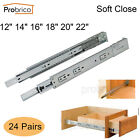 Probrico 24Pairs Soft Close Full Extension Drawer Slides 12/14/16/18/20/22inch