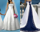 2018 Vintage White And Blue Satin Wedding Dresse Embroidery Beach Bridal Gowns