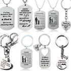Gifts For Mum Father Dad Mother Teacher Dad Keyring Charm Heart Dog Tag Necklace