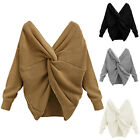 Women V Neck Twisted Back Tie Knot Knitted Wool Sweater Jumpers Pullover Outwear