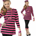 Kids Prisoner Costume Pink Fancy Dress Criminal Striped 8-14 Years Teen Amscan