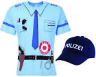 Kinder Polizei Uniform Kostüm    -    T-shirt + Cap   2er SET