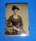 Vintage Tintype Photograph Young Woman Fancy Dress Hat And Wedding Ring Visable