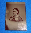 Vintage Tintype Photograph Woman in Dress with Necklace Visable