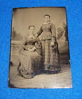 Vintage Tintype Photograph Two Women in Checked Dresses