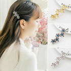 Womens Bridal Flower Rhinestone Barrette Crystal Hair Clip B