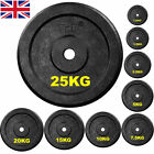 """Black Cast Iron Weight Plates 1"""" Disc Dumbbell Barbell Bar Weights Plate"""