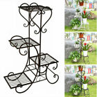 Pot Metal Plant Planter Stand 4Tier Home Patio Garden Outdoor Black White  Brown