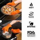 Pair Gloves Silicon Heat Resistant Cooking Mitts Oven Grill BBQ Pot Holder
