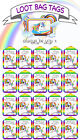 Dabbing Rainbow Unicorn loot bag party favour swing tags labels birthday favors