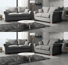 Eleanor Sofa 3 + 2 Seater Set Plain Fabric Formal Back Grey Silver Beige