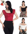 HELL BUNNY RIO 50s style GYPSY FRILL rockabilly BLACK, RED, IVORY TOP XS-4XL