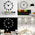 Hot 3D Modern DIY Large Wall Clock Kit Mirror Surface Sticker Home Room Decor SN