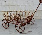 Wrought Iron Wagon Decorative Plant Container Flower Cart