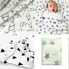 NEW Baby Swaddle Receiving Blanket Organic Bamboo Muslin Cotton Unisex boy girl