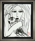 Walasse TING Original Ink Drawing Rare Signed Female Modern Art painting Framed