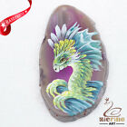 Hand Painted Dragon Agate Slice Gemstone Necklace Pendant Jewlery D1706 0204
