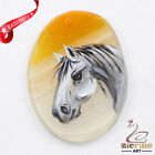 Hand Painted Horse Agate Slice Gemstone Necklace Pendant Jewlery D1707 0020