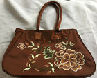 Silk Handbag Embroider Asian Retro Purse Brown Flower Rockabilly 50s Pocketbook