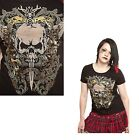 Gothic Death Skull Dagger Fitted T - Shirt Top Size X/L XX/L