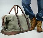 leather weekender bag for men - Vintage Retro Men Genuine Leather Canvas Duffle Weekend Bag Tote Handbag Luggage