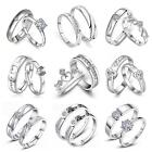 1 Pair Silver Plated Lovers Couple Set Crystal Diamond Wedding Ring NEUS