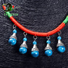 Necklace & Tibetan Silver + Turquoise Beads Pendant Sweater Chain M4020