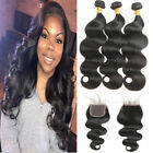 Body Wave Virgin Human Hair Extensions 3 Bundles With 4*4 Lace Closure 8A Wavy