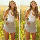 US Women Ladies Summer Crewneck Sleeveless Pocket Short Mini Dress Casual Beach