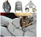 Women's Hoodie Large Pocket Pet Dog Cat Kangaroo Holder Carrier Coat Pouch To XP