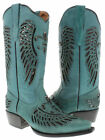 Women's Turquoise Flower Inlay Black Sequins Leather Cowboy Boots Snip Toe