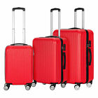 Travel - 3 Piece Travel Hard Spinner Luggage Set Hardside Shell Suitcase Multi-Color
